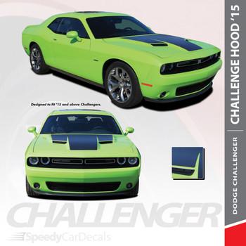 HOOD 15 : 2015-2018 2019 Dodge Challenger Factory OE Factory Style R/T Hood Vinyl Graphics Stripe Decals Kit