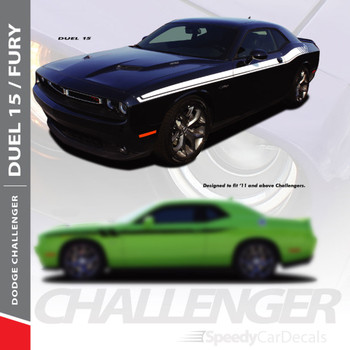 DUEL 15 : 2011-2018 2019 Dodge Challenger Vinyl Graphics Upper Door Strobe with R/T Decal Stripe Kit