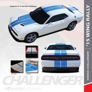 RALLY WING 15 : 2015-2018 2019 Dodge Challenger Wide Rally Hood Vinyl Graphic Full Racing Stripes Kit