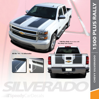 "RALLY 1500 PLUS : 2014 2015 ""Rally Edition Style"" Chevy Silverado Vinyl Graphic Decal Racing Stripe Kit"
