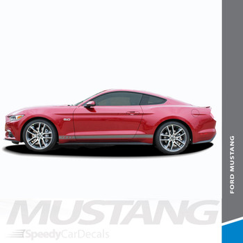 STALLION ROCKER ONE : 2015-2017 Ford Mustang Lower Door Rocker Panel Stripes Vinyl Graphic Decals Kit