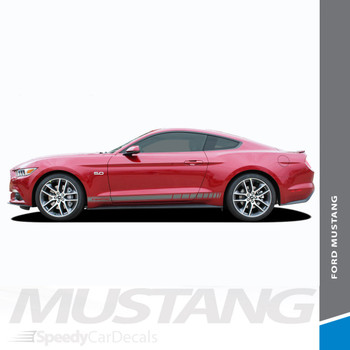 STALLION ROCKER TWO : 2015-2017 Ford Mustang Strobe Lower Rocker Panel Stripes Vinyl Graphic Decals Kit