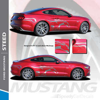 STEED : 2015-2017 Ford Mustang Pony Horse Side Door Fender Vinyl Graphic Decals Stripes Kit