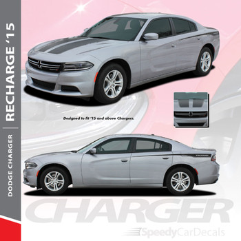 RECHARGE 15 COMBO : 2015-2018 2019 2020 Dodge Charger Split Hood and Rear Quarter Panel Sides Vinyl Graphic Decals and Stripe Kit