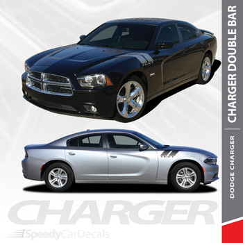 RECHARGE DOUBLE BAR 15 : 2015-2018 2019 2020 Dodge Charger Hood to Fender Hash Marks Vinyl Graphic Decals and Stripe Kit