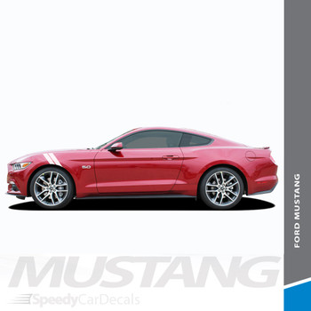 Mustang DOUBLE BAR : 2015-2017 Ford Mustang Hood to Fender Hash Mark Style Vinyl Racing Stripes Kit