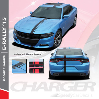 EURO RALLY : 2015-2018 2019 2020 Dodge Charger E-Rally Offset Vinyl Graphics Racing Stripe Decal Kit