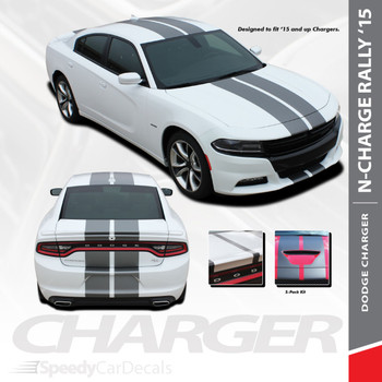 "N-CHARGE RALLY 15 : 2015-2018 2019 2020 Dodge Charger 10"" Racing Stripe Rally Vinyl Graphics Decal Stripe Kit"