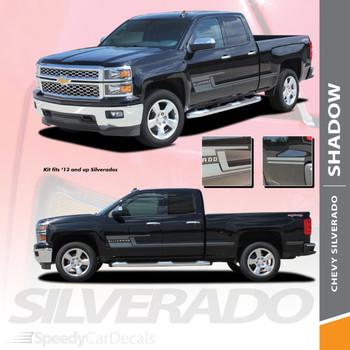 SHADOW : 2014-2018 Chevy Silverado Vinyl Graphic Decal Lower Body Accent Stripe Kit