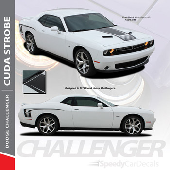 CUDA STROBE COMBO : 2008-2018 2019 2020 2021 Dodge Challenger Factory OEM Style Strobe Hood and Side Vinyl Graphic Decal Stripes Kit