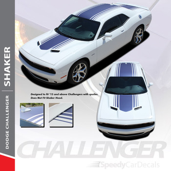 "SHAKER : 2015-2018 2019 2020 2021 Dodge Challenger Factory OEM ""Shaker Style"" Hood Roof Trunk Vinyl Rally Stripes Kit"
