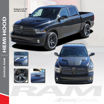 HEMI HOOD : 2009-2018 Dodge Ram Split Hood Vinyl Graphics Accent Decal Stripe Kit