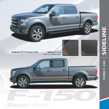 SIDELINE : 2015-2018 Ford F-150 Special Edition Appearance Package Style Door Hockey Stripe Vinyl Graphics Decals Kit