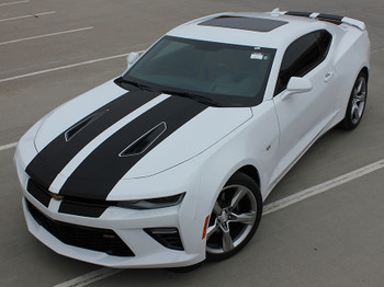 Front hood view of Chevy Camaro Racing Stripes 3M CAM SPORT | 2016 2017 2018 Chevy Camaro Stripes and Decals