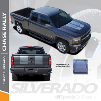 CHASE RALLY : 2016-2018 Chevy Silverado Rally Edition Style Hood Tailgate Vinyl Graphic Decal Racing Stripe Kit