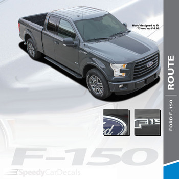 ROUTE HOOD : 2015-2018 Ford F-150 Center Hood Blackout Vinyl Graphic Decal Stripe Kit