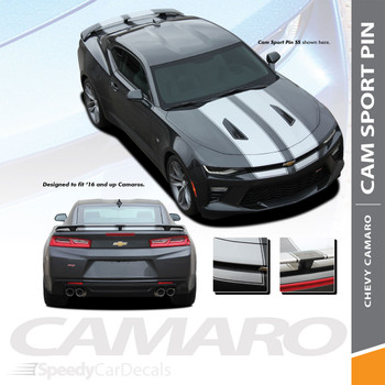 Camaro SS Rally Stripes CAM SPORT PIN 2016-2018 Racing Decal Graphics Wet Install and Dry Install