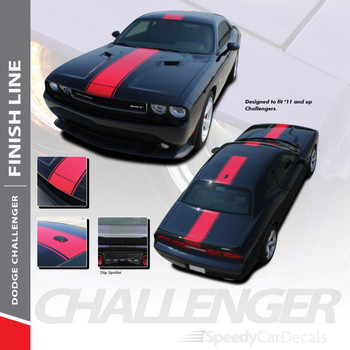 FINISH LINE :  2011-2018 2019 Dodge Challenger Center Wide Rallye Redline Style Vinyl Racing Stripes Hood Decal Graphics Kit