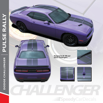 PULSE RALLY : 2008-2018 2019 Challenger Strobe Stripes Hood to Trunk Vinyl Graphic Racing Rally Decal Stripes Kit