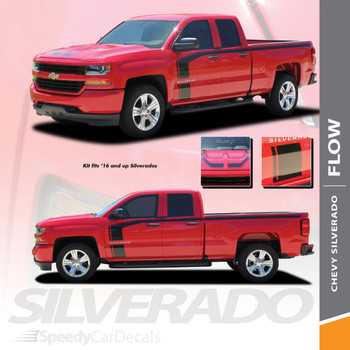 FLOW :  2016-2018 Chevy Silverado Special Edition Rally Style Hood Side Upper Body Hockey Accent Vinyl Graphic Decal Stripe Kit