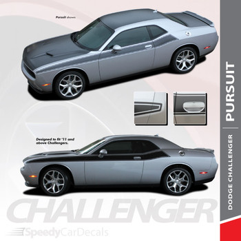 PURSUIT : 2011-2018 2019 Dodge Challenger Wide Upper Door Vinyl Graphics Side T/A 392 Style Stripes Accent Decals Kit