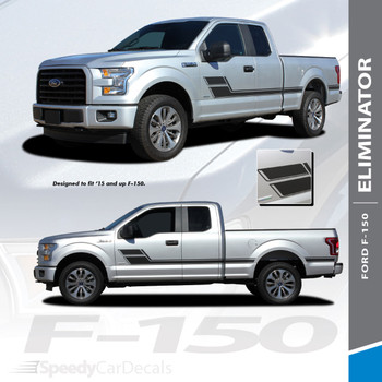 ELIMINATOR  : 2015-2018 Ford F-150 Side Door Hockey Stick Rally Stripes Vinyl Graphics and Decals Kit