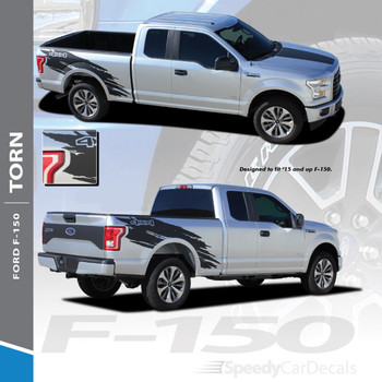 TORN : 2015-2018 Ford F-150 Mudslinger Side Truck Bed 4X4 Vinyl Graphics and Decals Striping Kit
