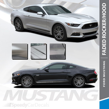 FADED ROCKERS : 2015-2017 Ford Mustang Lower Door Rocker Panel Fade Fading Stripes Vinyl Graphic Decals Kit