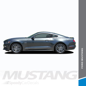 FADED TRILINE ROCKERS : 2015-2017 Ford Mustang Lower Door Rocker Panel Fade Fading Stripes Vinyl Graphic Decals Kit