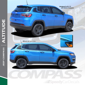 ALTITUDE | 2017-2020 Jeep Compass Stripe Vinyl Graphics 3M Wet Install and Avery Dry Install