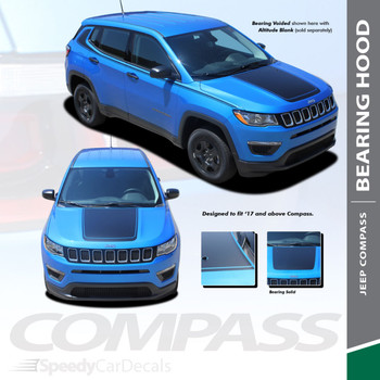 BEARING HOOD | Jeep Compass Hood Stripe Decals Voids 2017-2020 Wet and Dry Install