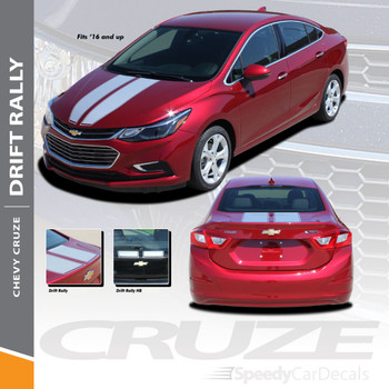 DRIFT RALLY : 2017-2018 Chevy Cruze Rally Racing Stripes Vinyl Graphics Decal Hood Trunk Kit Wet and Dry Install Vinyl