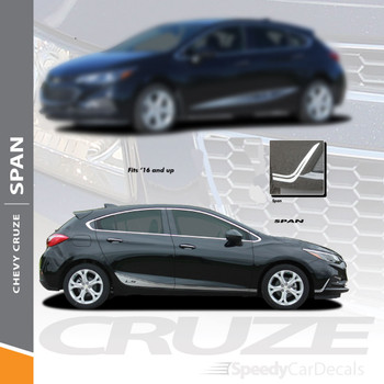 SPAN : 2017-2018 Chevy Cruze Lower Rocker Stripes Vinyl Graphics Decal Door Kit Wet and Dry Install Vinyl