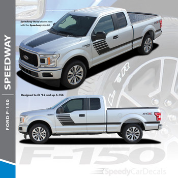 SPEEDWAY SIDES : 2015-2018 Ford F-150 Special Edition Appearance Package Style Door Hockey Stripe Vinyl Graphics Decals Kit