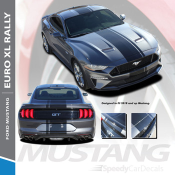 EURO RALLY | 2018 2019 2020 Ford Mustang Center Vinyl Matte Black Stripe Premium and Supreme Install