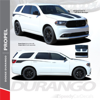 PROPEL HOOD : 2011-2018 Dodge Durango Split Hood Vinyl Graphics Accent Decal Stripe Kit