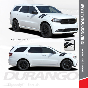 DURANGO DOUBLE BAR: 2011-2018 Dodge Durango Hood Hash Mark Vinyl Graphics Accent Decal Stripe Kit
