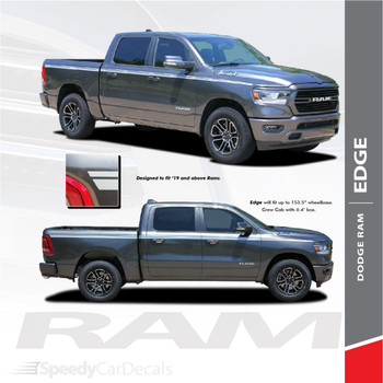 RAM EDGE : 2019-2020 Dodge Ram Upper Body Stripes Side Door Decals Vinyl Graphics Accent Kit
