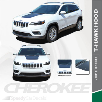T-HAWK : 2018-2020 Jeep Cherokee Trailhawk Center Hood Blackout Vinyl Graphics Decal Stripe Kit