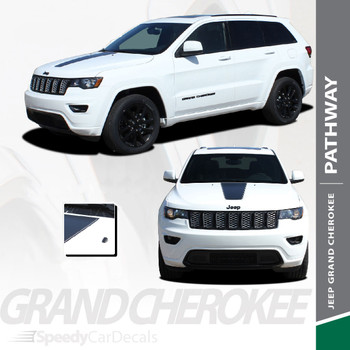 PATHWAY HOOD : 2011-2020 Jeep Cherokee Center Hood Blackout Vinyl Graphics Decal Stripe Kit