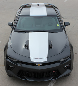 Front View of 2017 Chevy Camaro Wide Center Stripes OVERDRIVE 2016-2018