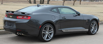 Rear Passenger side view of 2017 Chevy Camaro Rocker Side Stripes SKID ROCKER 2016-2018