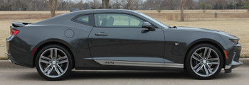 Passenger side view of 2017 Chevy Camaro Rocker Side Stripes SKID ROCKER 2016-2018