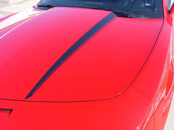 Close Hood View of Red Camaro with LS, LT, RS or SS Chevy Camaro Hood Stripes HOOD SPIKES 2009-2015