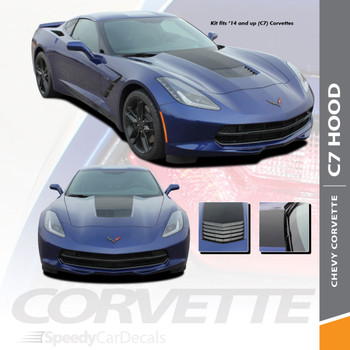 C7 HOOD : 2014-2018 Chevy C7 Corvette Hood Blackout Stripes Vinyl Graphic Decals Kit Wet and Dry Install Vinyl