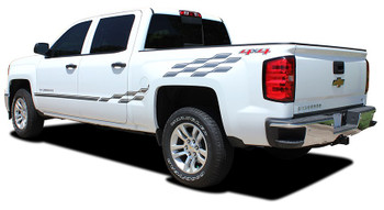 Rear View Chevy Silverado Upper Body Vinyl Graphics CHAMP 2013-2018
