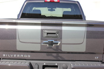 Tailgate View of Black 2016 2017 2018 Chevy Silverado Hood Stripes