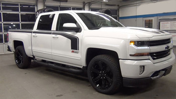 "Side of white FLOW 2018 2017 2016 Chevy Silverado ""Special Edition Rally"" Hood and Side Door Body Hockey Accent Vinyl Graphic Stripe"