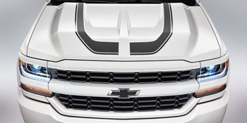 Hood View of white 1500 Chevy Silverado Special Ops Stripes 2016-2018