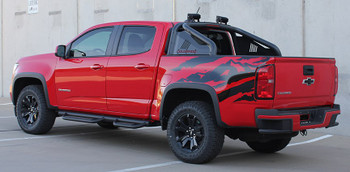 Side of red GMC Canyon Side Stripe Decals ANTERO 2015-2021